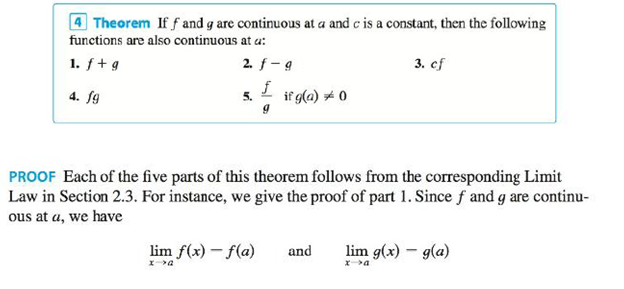 Explain, using Theorems 4, 5, 7, and 9, why the function