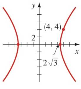 Chapter 12.3, Problem 30E, 27-32. Finding an equation of a Hyperbola Find the equation of hyperbola whose graph is shown.