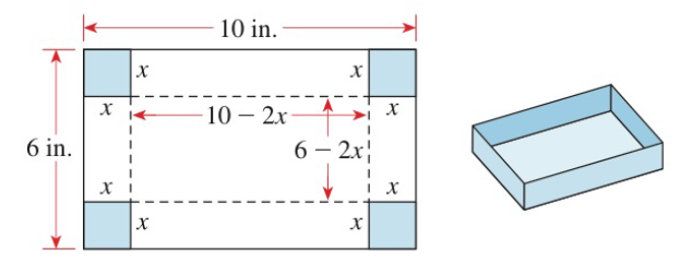 Chapter P.5, Problem 89E, Volume of a Box An open box is constructed from a 6 in. by 10 in. sheet of cardboard by cutting a