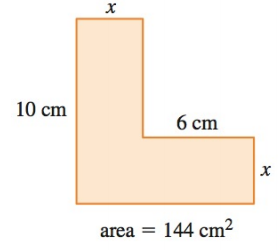 Chapter P.9, Problem 42E, APPLICATIONS Geometry Find the length x in the figure if the shaded area is 144 cm2.
