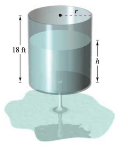 Chapter 6, Problem 6PS, Torricelli's Law The cylindrical water tank shown in the figure has a height of 18 feet. When the