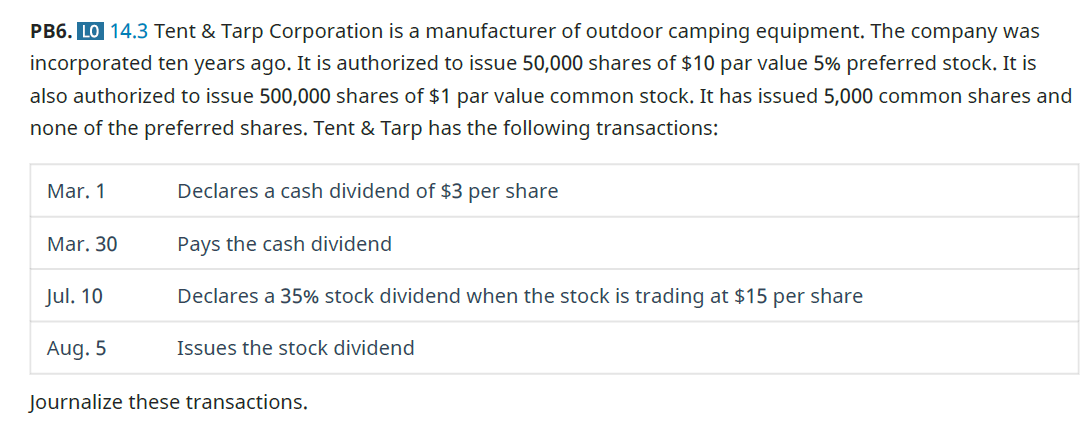 Chapter 14, Problem 6PB, Tent  Tarp Corporation is a manufacturer of outdoor camping equipment. The company was incorporated