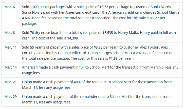 Chapter 9, Problem 3PB, Prepare journal entries for the following transactions from School Mart.